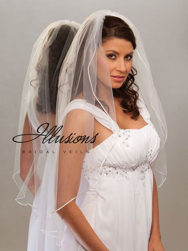Illusions Bridal Rattail Edge Veil 7-361-RT: Rhinestone Accent
