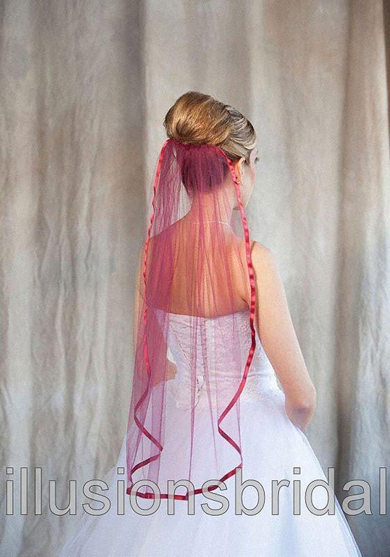 Illusions Bridal Colored Veils and Edges: Garnet Ribbon Edge
