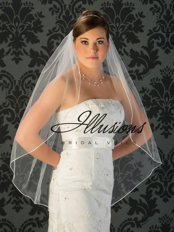 Illusions Bridal Rattail Edge Wedding Veil 1-361-RT: Fingertip Length