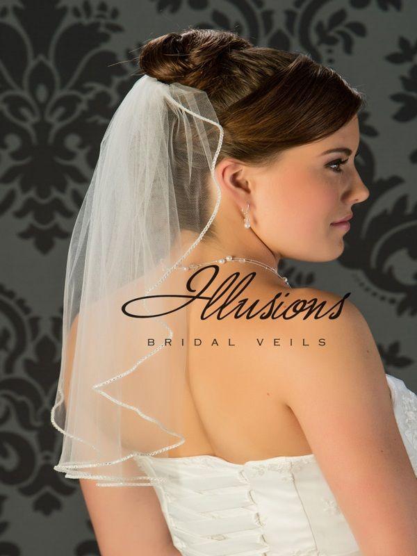Illusions Bridal Rhinestone Edge Veil 7-201-TRS