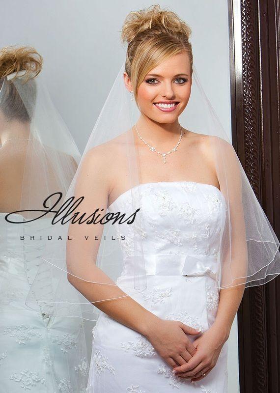 Illusions Bridal Corded Edge Veil FC7-302-C: Rhinestone Accent