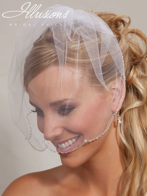 Illusions Bridal Visor Veils VS-7038: Beaded Edge