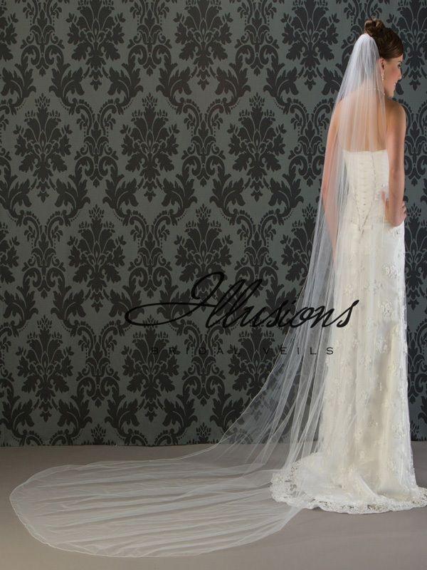 Illusions Bridal Corded Edge Veil 7-1201-C: Rhinestone Accent