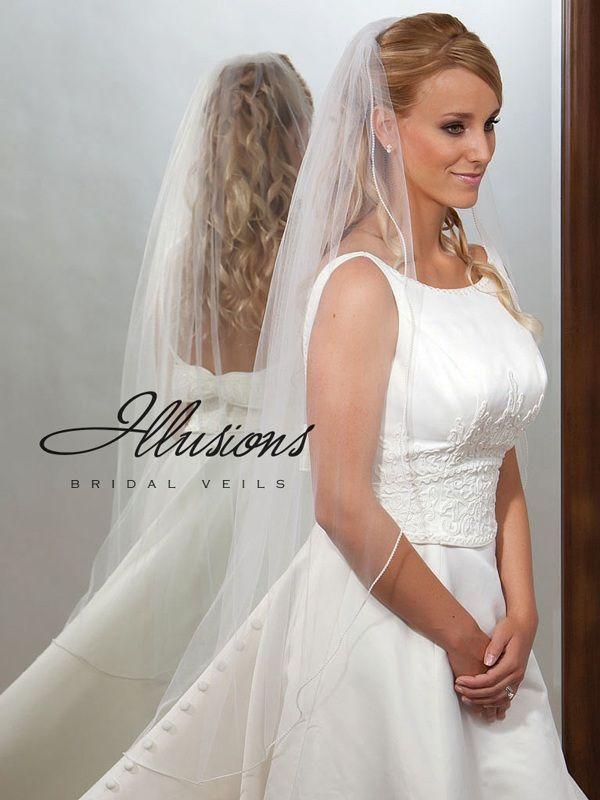 Illusions Bridal Pearl Edge Veil 7-451-P: Pearl Accent