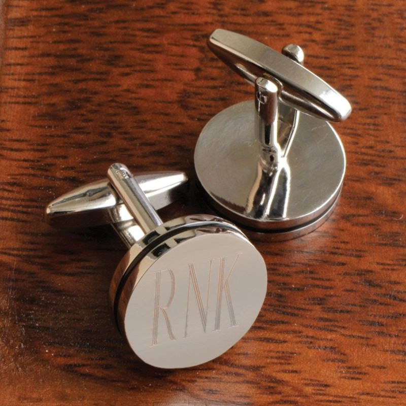 Personalized Pin Stripe Cufflinks - Silver Monogram