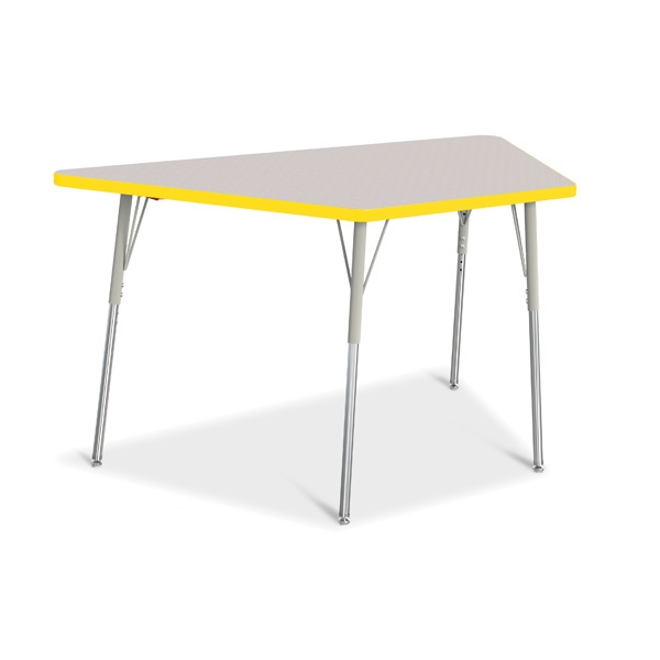 """Berries® Trapezoid Activity Tables - 30"""" X 60"""", A-Height - Gray/Yellow/Gray"""