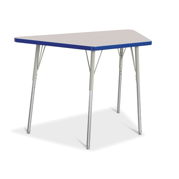 """Berries®Trapezoid Activity Tables - 24"""" X 48"""", A-Height - Gray/Blue/Gray"""