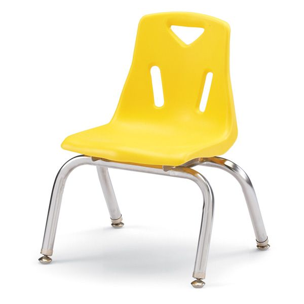 """Berries®Stacking Chairs With Chrome-Plated Legs - 10"""" Ht - Set Of 6 - Yellow"""