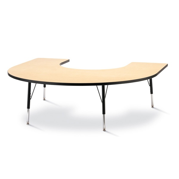 "Berries® Horseshoe Activity Table - 66"" X 60"", E-Height - Maple/Black/Black"