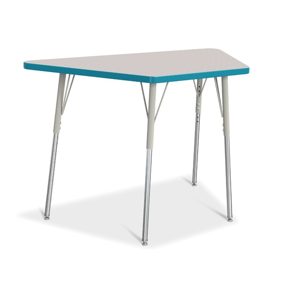 """Berries®Trapezoid Activity Tables - 24"""" X 48"""", A-Height - Gray/Teal/Gray"""