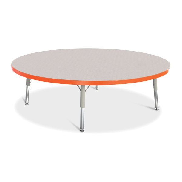 "Berries®Round Activity Table - 48"" Diameter, T-Height - Gray/Orange/Gray"