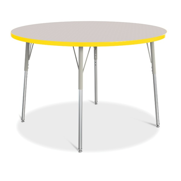 """Berries®Round Activity Table - 48"""" Diameter, A-Height - Gray/Yellow/Gray"""