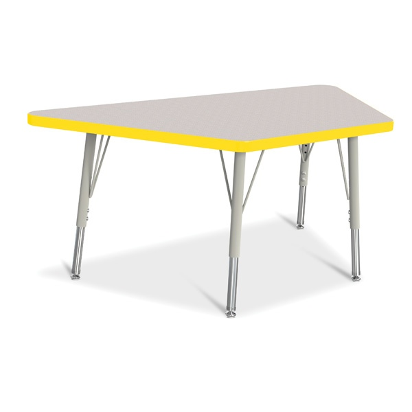 """Berries®Trapezoid Activity Tables - 24"""" X 48"""", E-Height - Gray/Yellow/Gray"""