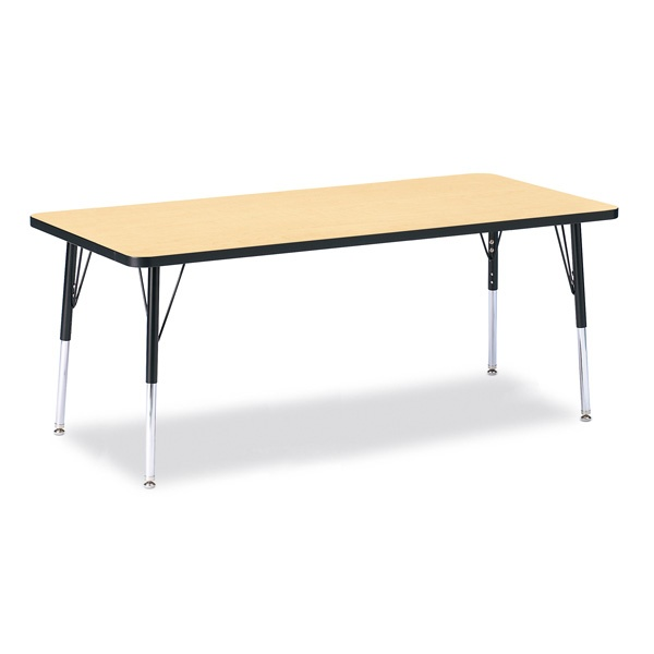 """Berries®Rectangle Activity Table - 30"""" X 72"""", E-Height - Maple/Black/Black"""