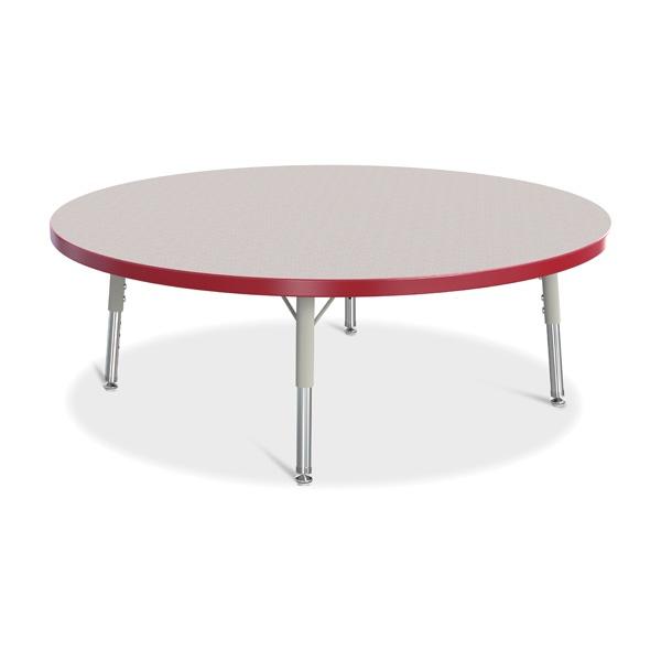 "Berries® Round Activity Table - 42"" Diameter, T-Height - Gray/Red/Gray"