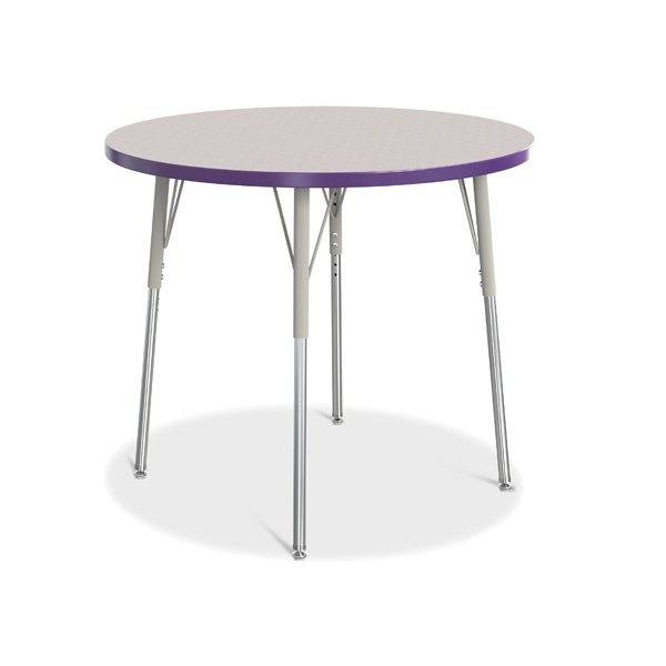 """Berries®Round Activity Table - 36"""" Diameter, A-Height - Gray/Purple/Gray"""