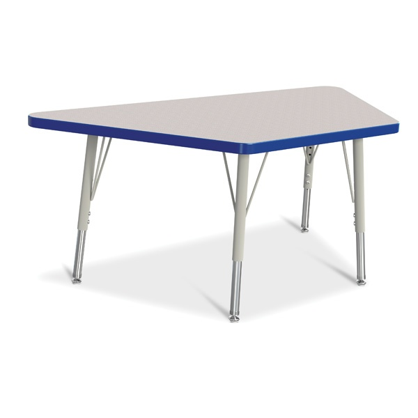 """Berries® Trapezoid Activity Tables - 24"""" X 48"""", E-Height - Gray/Blue/Gray"""