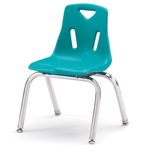 """Berries®Stacking Chairs With Chrome-Plated Legs - 14"""" Ht - Set Of 6 - Blue"""