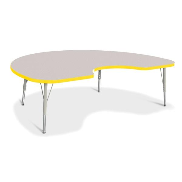"Berries®Kidney Activity Table - 48"" X 72"", E-Height - Gray/Yellow/Gray"