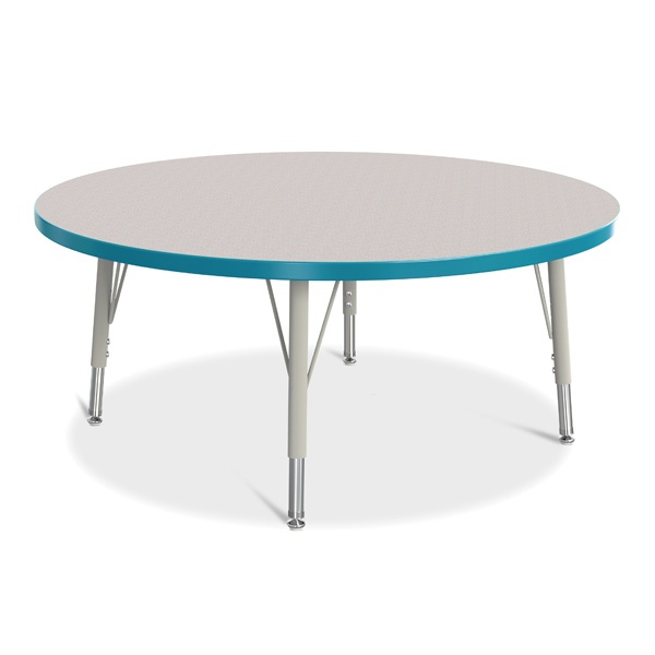 """Berries®Round Activity Table - 42"""" Diameter, E-Height - Gray/Teal/Gray"""