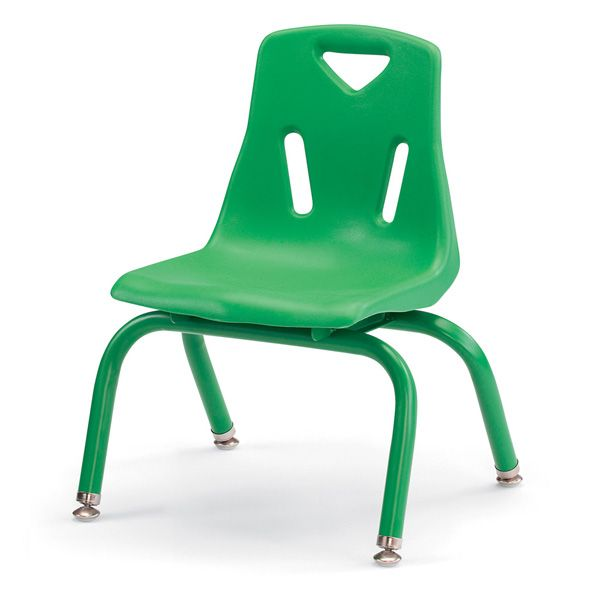 """Berries® Stacking Chairs With Powder-Coated Legs - 10"""" Ht - Set Of 6 - Green"""