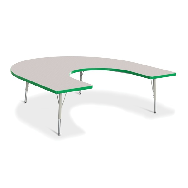 "Berries®Horseshoe Activity Table - 66"" X 60"", E-Height - Gray/Green/Gray"