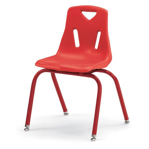 """Berries®Stacking Chairs With Powder-Coated Legs - 16"""" Ht - Set Of 6 - Orange"""