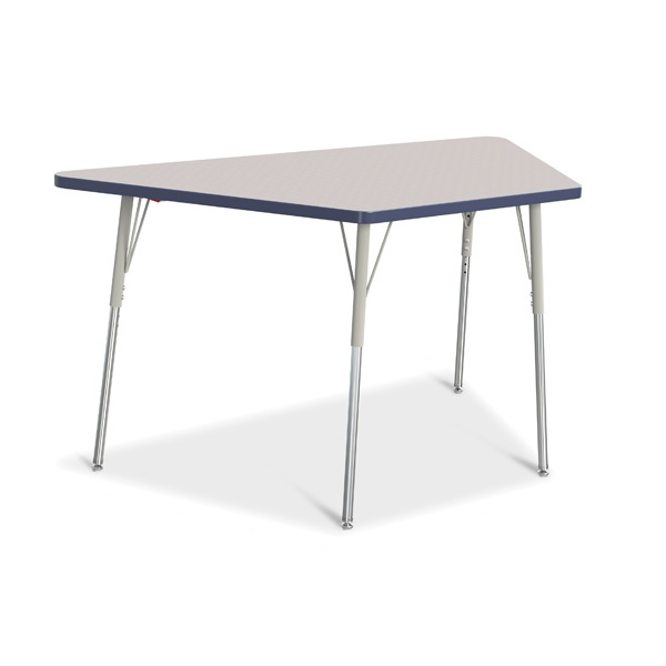 """Berries® Trapezoid Activity Tables - 30"""" X 60"""", A-Height - Gray/Navy/Gray"""