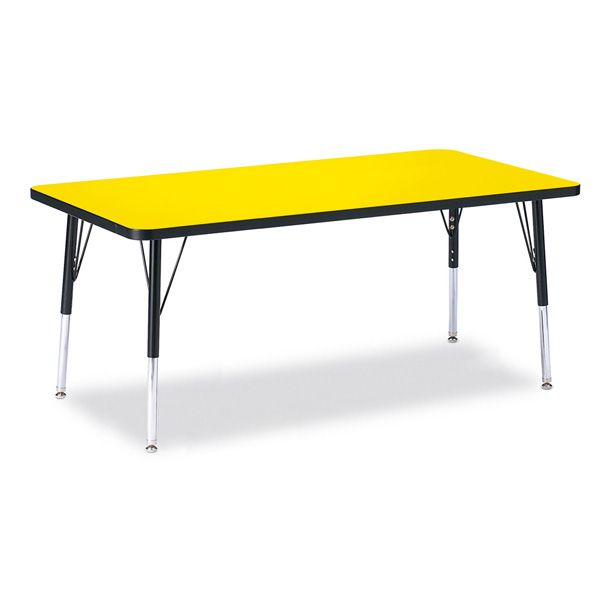 """Berries® Rectangle Activity Table - 30"""" X 60"""", E-Height - Yellow/Black/Black"""