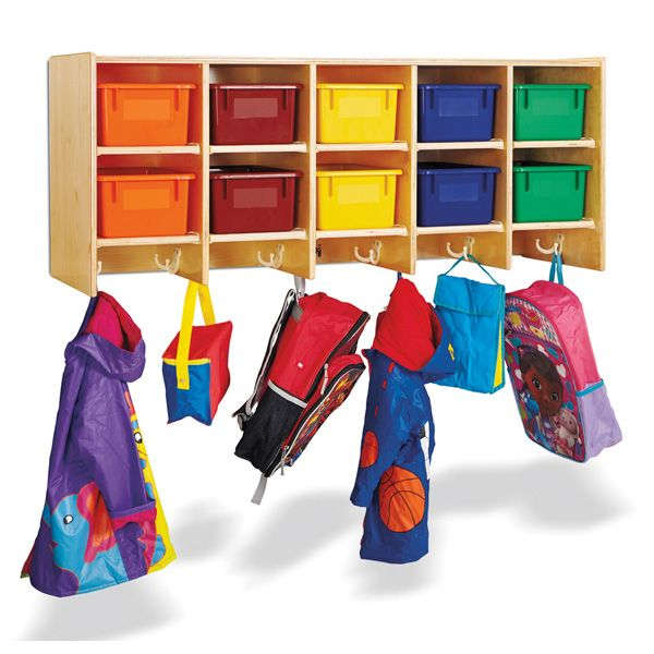 Jonti-Craft®10 Section Wall Mount Coat Locker - With Colored Trays