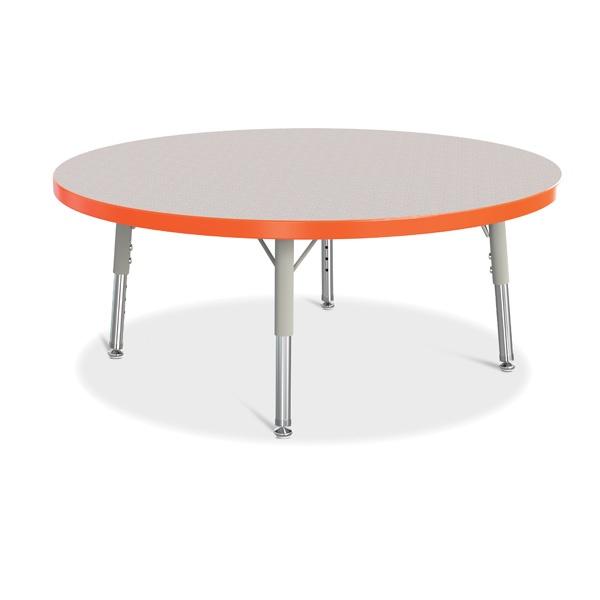 "Berries®Round Activity Table - 36"" Diameter, T-Height - Gray/Orange/Gray"
