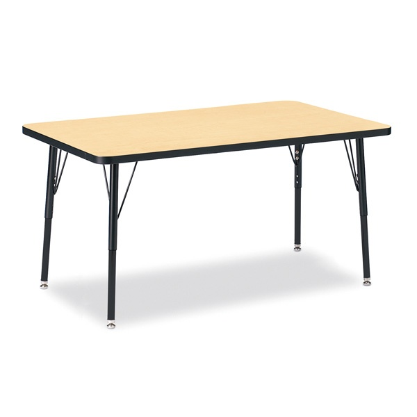 """Berries®Rectangle Activity Table - 30"""" X 48"""", A-Height - Maple/Black/Black"""