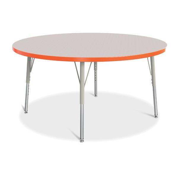 "Berries®Round Activity Table - 48"" Diameter, E-Height - Gray/Orange/Gray"