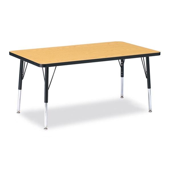 "Berries®Rectangle Activity Table - 30"" X 48"", E-Height - Oak/Black/Black"