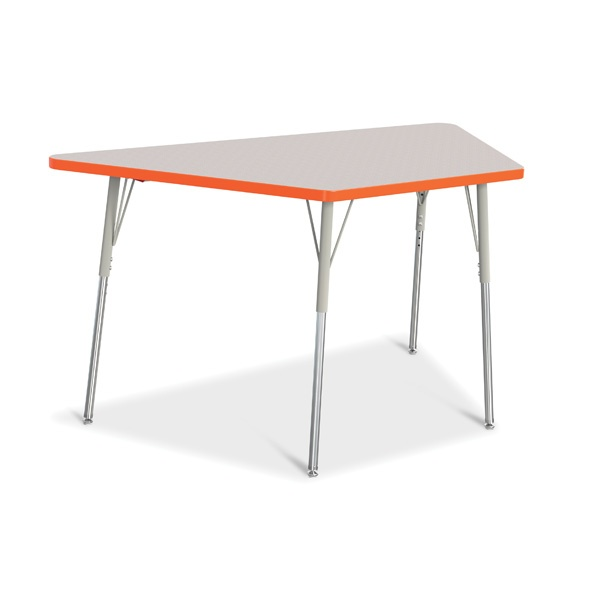 """Berries®Trapezoid Activity Tables - 30"""" X 60"""", A-Height - Gray/Orange/Gray"""