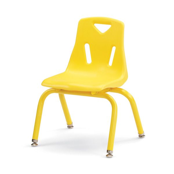"""Berries® Stacking Chairs With Powder-Coated Legs - 12"""" Ht - Set Of 6 - Yellow"""