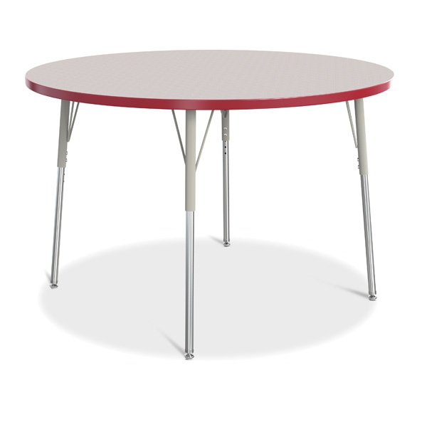 """Berries®Round Activity Table - 48"""" Diameter, A-Height - Gray/Red/Gray"""