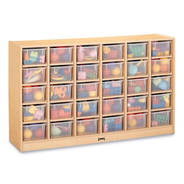 Maplewave® 30 Cubbie-Tray Mobile Storage - With Clear Trays