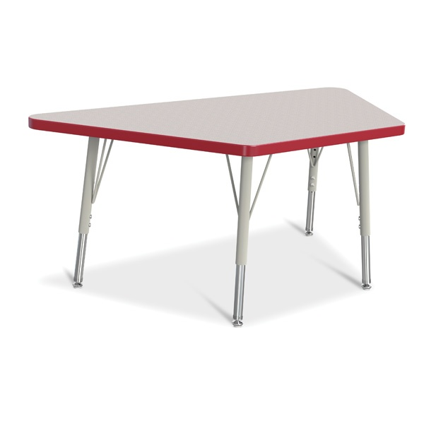 """Berries®Trapezoid Activity Tables - 24"""" X 48"""", E-Height - Gray/Red/Gray"""