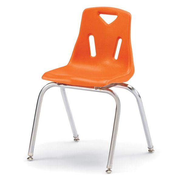 """Berries® Stacking Chairs With Chrome-Plated Legs - 18"""" Ht - Set Of 6 - Orange"""