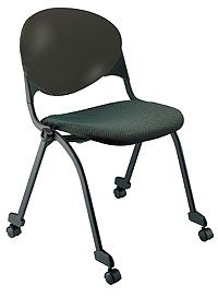 """KFI """"2000"""" Series Stack Chair: Armless Upholstered Seat and Poly Back with Casters"""