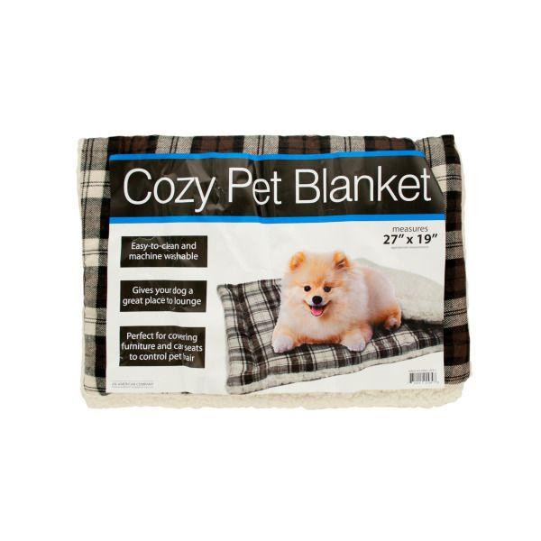 Cozy Plaid Pet Blanket With Fleece Padding