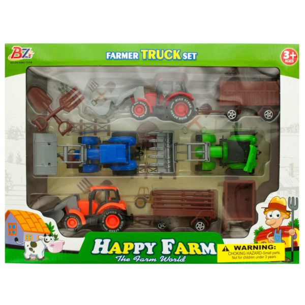 Farm Tractor Truck & Trailer Set, Pack Of 2