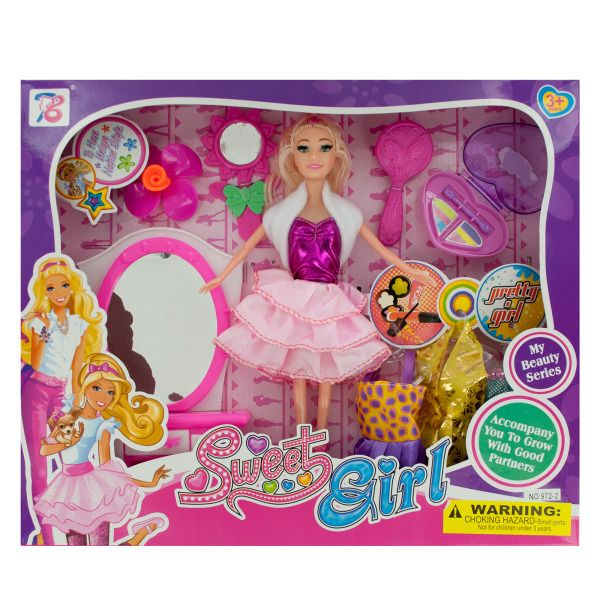 Fashion Doll With Accessories & Vanity Table, Pack Of 2