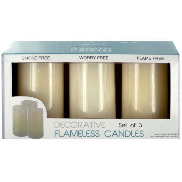 Decorative Flameless Vanilla Pillar Candles, Pack Of 2