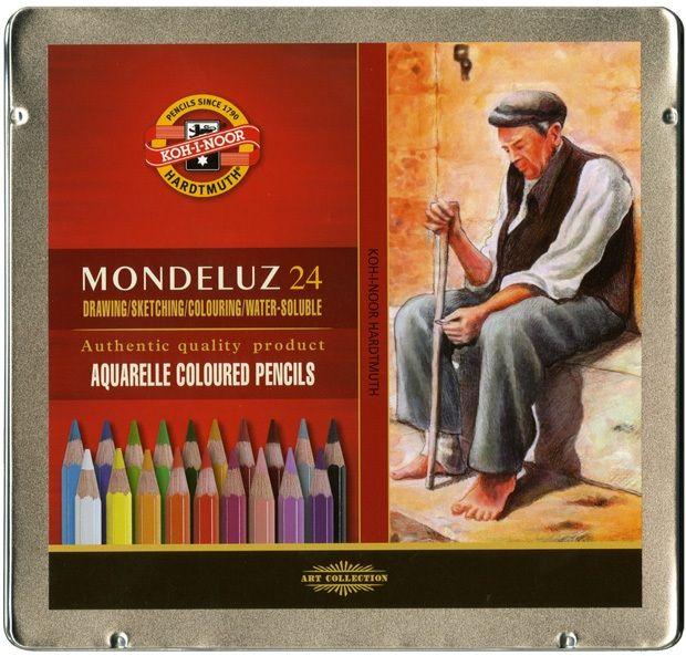 Mondeluz Aquarell Pencil Set, 36 Piece, Assorted Colors In A Tin