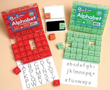 Ready 2 Learn Alphabet Stamps - Uppercase - Dotted Lines - Small - Set Of 34