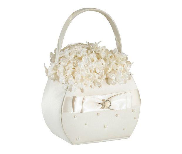 Ivory Scattered Pearl Flower Girl Basket