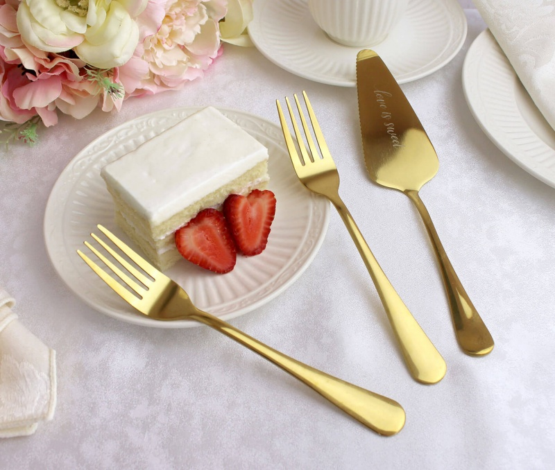 """Love Is Sweet"" Server W/ Set Of Forks Wedding Cake Knife Alternative"