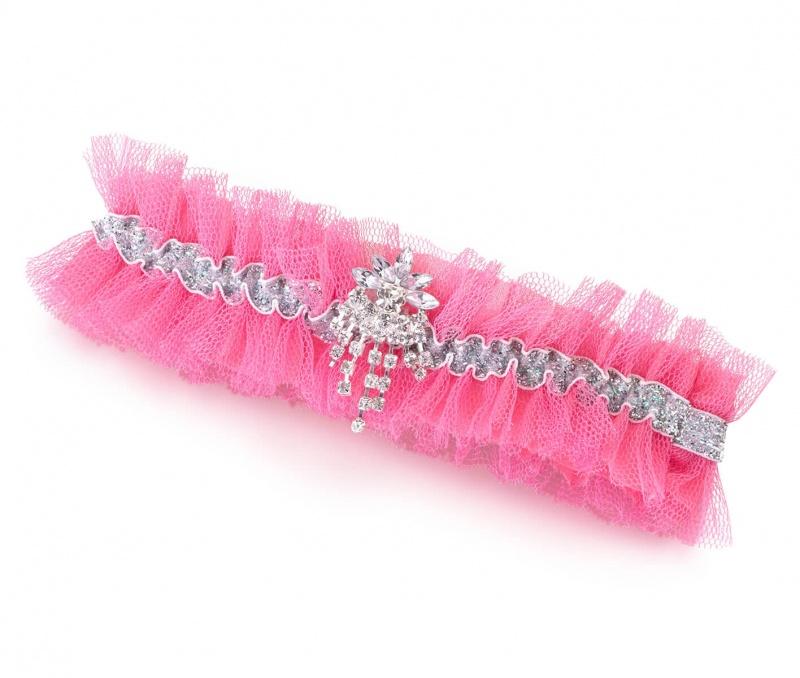 Glamorous Hot Pink Rhinestone Tulle Garter